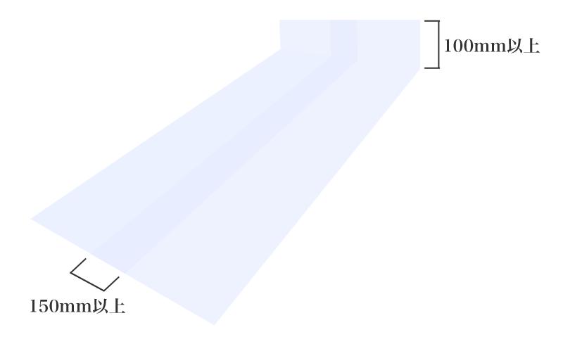 防湿シートの重なりは150mm以上、壁の立ち上げは100mm以上