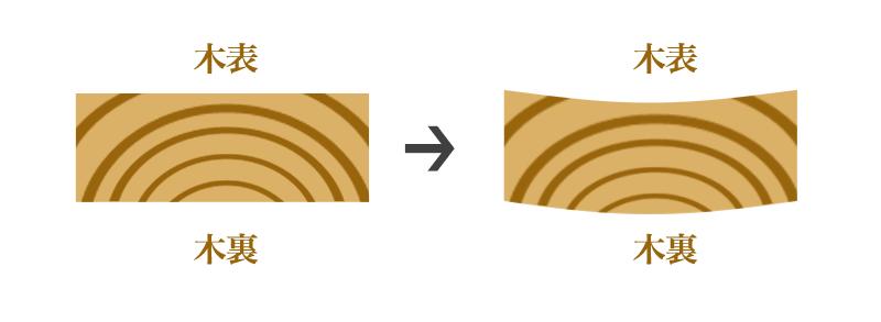 木材の木表と木裏