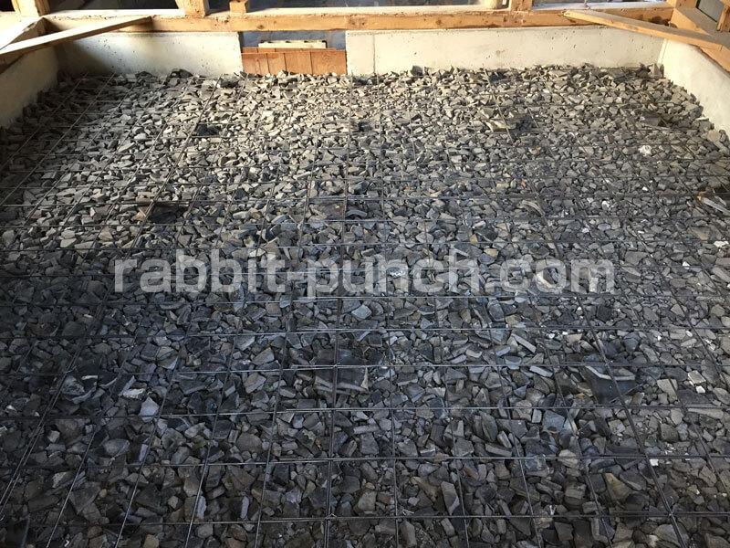 9畳の部屋にコンクリートを打つ