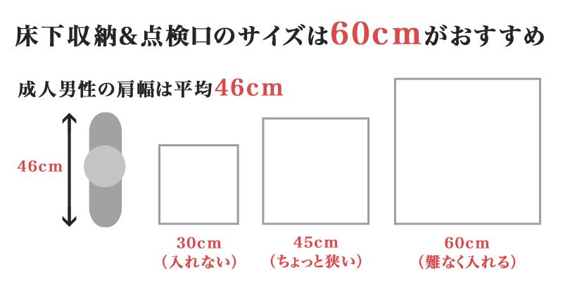 床下収納&点検口は1辺60cmサイズがおすすめ