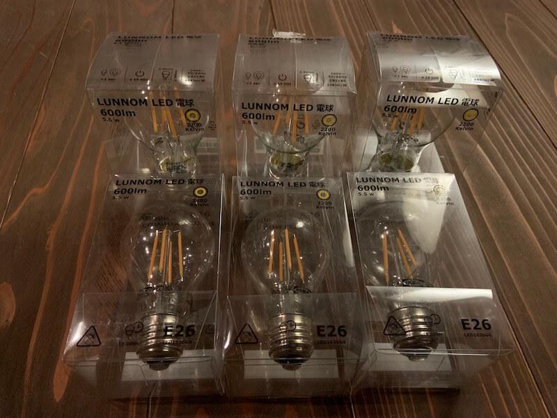 IKEAのフィラメントLED電球